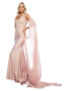 Amelia Couture Womens Champagne Fitted One-Shoulder Mesh Embroidered Dress 2-14