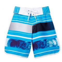 Azul Little Boys Blue Stripe Print Tidal Wave Drawstring Tie Board Shorts 2-6