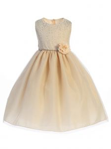 Crayon Kids Big Girls Champagne Glitter Junior Bridesmaid Easter Dress 7-12