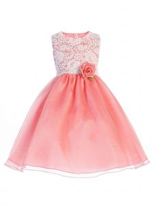 Crayon Kids Big Girls Coral Floral Lace Easter Flower Girl Dress 7-10