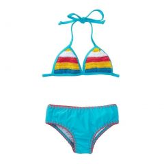 Azul Little Girls Turquoise Hippie Hippie Shake Crochet Bikini Swimsuit 4-6
