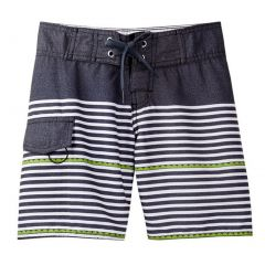 Azul Little Boys Gray Dotted Line Drawstring Swimwear Board Shorts 4-6