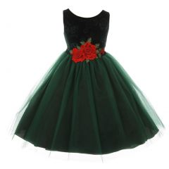 Kids Dream Little Girls Green Floral Velvet Rose Tulle Christmas Dress 2-6