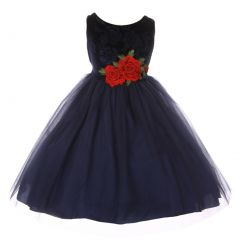 Kids Dream Little Girls Navy Floral Velvet Rose Tulle Christmas Dress 2-6