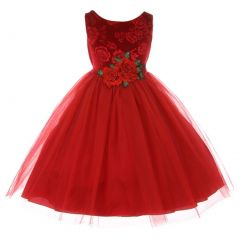 Kids Dream Big Girls Red Floral Velvet Rose Tulle Christmas Dress 8-12