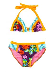 Azul Girls Orange Purple Paradise Triangle Bikini 2 Pc Swimsuit 4-8