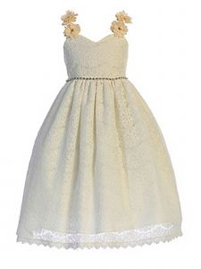 Crayon Kids Little Girls Ivory Floral Appliques Lace Flower Girl Dress 2T-6