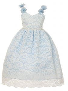 Crayon Kids Big Girls Blue Floral Appliques Lace Junior Bridesmaid Dress 8-14