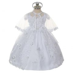 Rain Kids Baby Girls White Embroidered Brooch Headband Cape Baptism Dress 6-24M