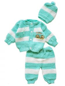 Yazmin Unisex Baby Multi Color 3 PC Crochet Coming Home Outfit Set 0-3M