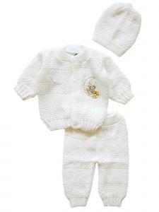 Yazmin Unisex Baby White 3 PC Crochet Coming Home Outfit Set 0-3M