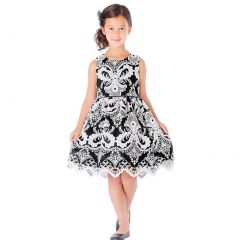 Sweet Kids Little Girls Black Damask Embroidered Lace Occasion Dress 2T-6