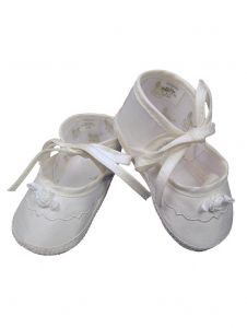 Baby Girls Champagne Silk Dupioni Embroidered Christening Shoes 0-4 Baby