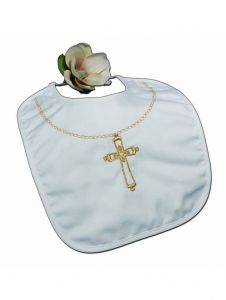 Little Things Mean A Lot White Cotton Gold Embroidered Cross Bib