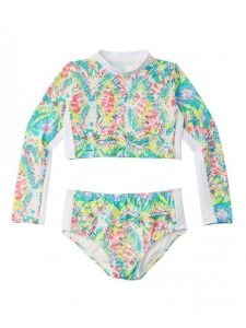 Azul Little Girls Multi Color Free Spirits Long Sleeved Crop Rash Guard Set 4-6