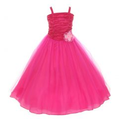 Big Girls Fuchsia Crinkled Bodice Floral Adorned Tulle Flower Girl Dress 8-16