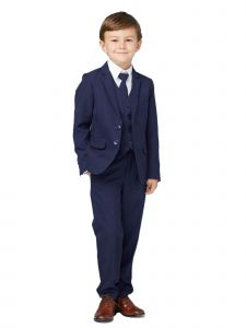 Tip Top Kids Little Boys Ink Blue Slim Fit Jacket Vest Pants Suit 7