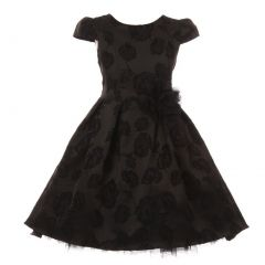Kids Dream Little Girls Black Flower Print Cap Sleeved Christmas Dress 4-6