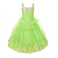 Little Girls Lime Rhinestone Star Organza Pick Up Flower Girl Dress 4