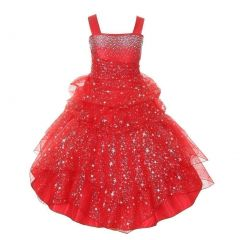 Big Girls Red Rhinestone Star Organza Pick Up Junior Bridesmaid Dress 8-16