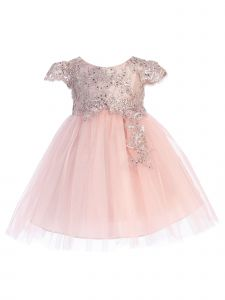Baby Girls Multi Color Sequin Flower Lace Bodice Tulle Flower Girl Dress 6-24M