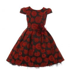 Kids Dream Little Girls Red Floral Print Hi-Low Elegant Christmas Dress 4-6