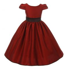 Kids Dream Big Girls Red Brown Trim Satin Flared Junior Bridesmaid Dress 8-14