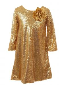 Kids Dream Big Girls Gold Sequin Flower Adorned Junior Bridesmaid Dress 8-12