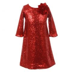 Kids Dream Little Girls Red Sequin Floral Adorned Flower Girl Dress 4-6