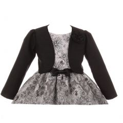 Kids Dream Little Girls Black Rosette Accented Satin Long Sleeve Bolero 2-6