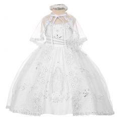 Rainkids Little Girls White Organza Virgin Mary Embroidery Baptism Dress 2-6