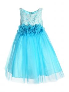 Kids Dream Big Girls Aqua Floral Lace Tulle Junior Bridesmaid Dress 8-12