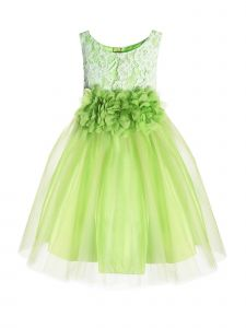 Kids Dream Little Girls Green Floral Lace Illusion Tulle Flower Girl Dress 2-6