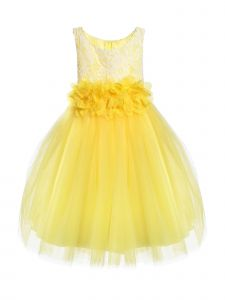 Kids Dream Big Girls Yellow Floral Lace Tulle Junior Bridesmaid Dress 8-12