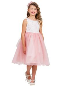 Kids Dream Big Girls Dusty Rose Lace Tulle Sleeveless Easter Dress 8-12