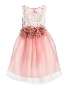 Kids Dream Big Girls Dusty Rose Floral Lace Tulle Junior Bridesmaid Dress 8-12