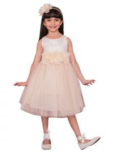 Kids Dream Big Girls Champagne Floral Lace Tulle Junior Bridesmaid Dress 8-12