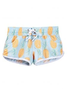 Azul Little Girls Light Blue Yellow Fruit Print Drawstring Pineapple Shorts 2-6
