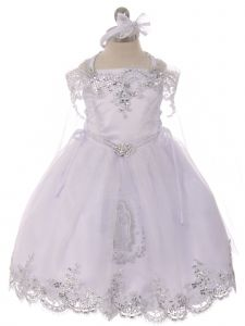 Rainkids Baby Girls White Off Shoulder Lace Cape Headband Baptism Gown 12M