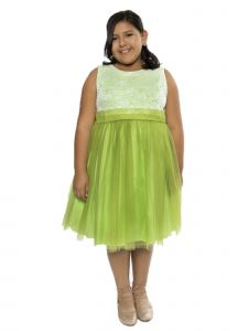 Kids Dream Big Girls Lime Lace Tulle Plus Size Junior Bridesmaid Dress 14.5-20.5