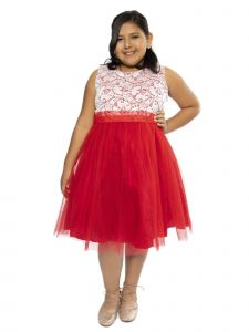 Kids Dream Big Girls Red Lace Tulle Plus Size Junior Bridesmaid Dress 14.5-20.5