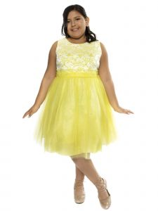 Kids Dream Big Girls Yellow Lace Plus Size Junior Bridesmaid Dress 14.5-20.5