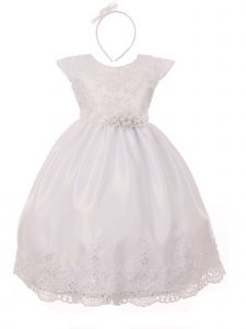Rain Kids Baby Girls White Hand Beaded Allover Lace Applique Baptism Dress 0-12M