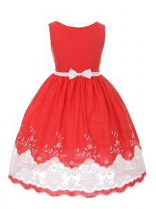 Kids Dream Little Girls Red Cotton Sheer Embroidery Flower Girl Dress 2-6