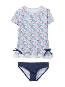 Azul Big Girls Blue Southern Charm Short Sleeve Rash Guard Bikini Set 8-12