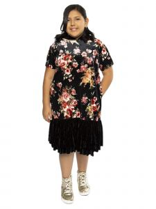 Kids Dream Big Girls Black Red Velvet Floral Ruffle Plus Size Dress 14.5-18.5