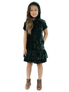 Kids Dream Little Girls Hunter Green Velvet Hooded Back To School Dress 2-6