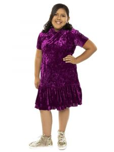 Kids Dream Big Girls Eggplant Velvet Back To School Plus Size Dress 14.5-18.5