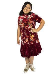 Kids Dream Big Girls Burgundy Velvet Floral Ruffle Plus Size Dress 14.5-18.5