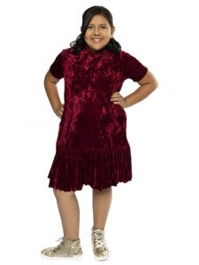 Kids Dream Big Girls Burgundy Velvet Back To School Plus Size Dress 14.5-18.5